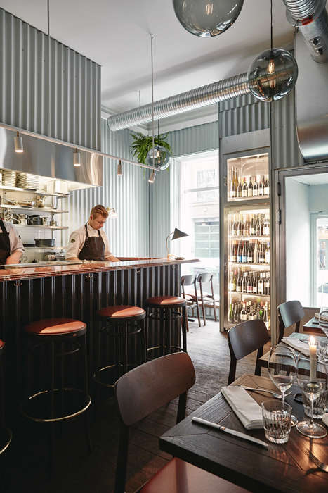Metal-Clad Restaurant Interiors - This Finnish Restaurant is Lined with Corrugated Metal Wall Panels