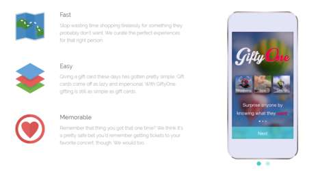 Experiential Gifting Apps - The GiftyOne Platform Allows Users to Send Experiential Gifts