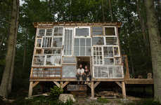 Repurposed Window Retreats - This Rustic Cabin Has a Mosaic Exterior Made from Recycle Windows