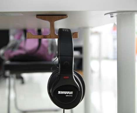 Wooden Workstation Headphone Holders