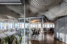 Meshed Cloud Office Ceilings - This Lattice Structure by Paritzki & Liani Replicates the Sky