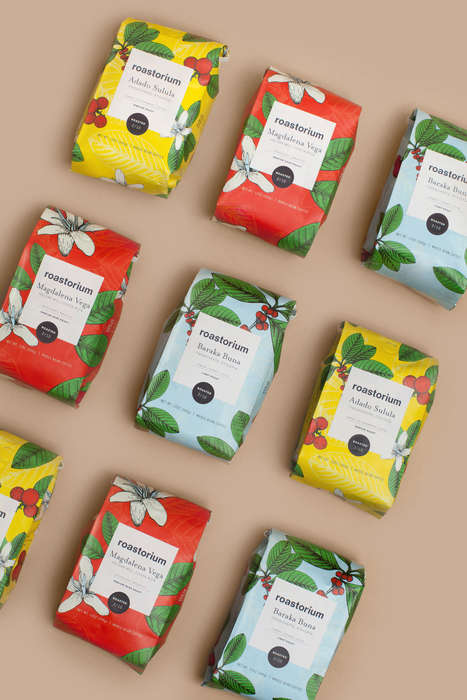 Flower-Focused Coffee Packaging - The Roastorium Specialty Coffee Packaging is Naturally Designed