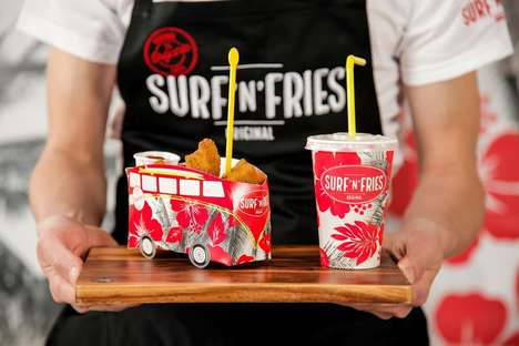Multifaceted Fast Food Packaging - Surf'n'Fries to Go Packaging is Floral and Multifunctional