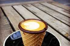 Edible Coffee Cones - Cafe Alfred Coffee is Serving Hot Espresso in Edible Waffle Mugs