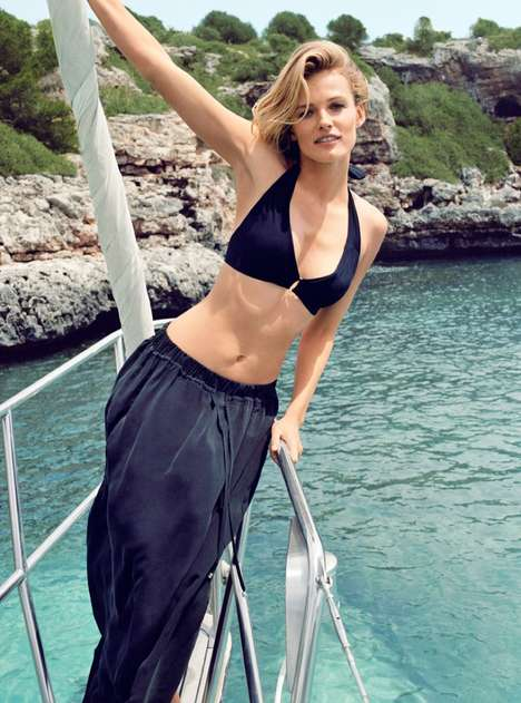 Casual Yacht Fashion Ads - Edita Vilkeviciuten Stars in the Zara Home Beachwear Campaign