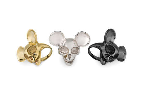 Skeletal Mouse Rings - Tom Wood's Fashionable Rings Feature a Mickey Mouse Skull Embellishment