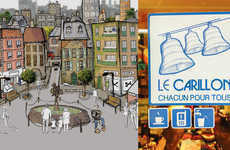 Homeless Service Stickers - Parisian Network Le Carillon Advertise Free Offerings to the Homeless