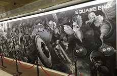 Chalkboard Art Advertisements - This Artful Gaming Ad is a Chalkboard Drawing in Shinjuku Station