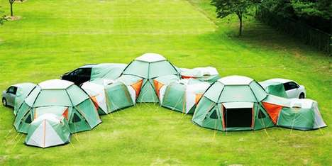 The Logos Pentagon Pop-Up Abodes Can be Attached to Create a Community