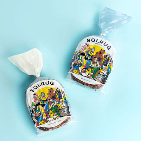Cartoon Lifestyle Bread Packaging - The Solrug Healthy Bread is Packed with Protein and Fiber