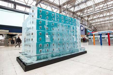 Icy Vending Machines - This Starbucks Ice Sculpture Installation Celebrates a New Product