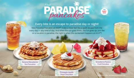 Tropical Pancake Flavors - IHOP's New Line-Up of Paradise Pancakes Features Exotic Ingredients