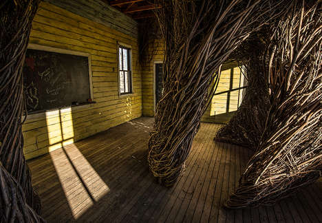 Willow-Wrapped Art Centers - Patrick Dougherty Created a Stunning Sculpture Made from Willow Trees