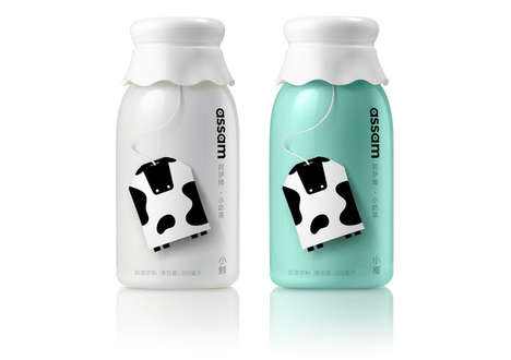 Dairy-Themed Tea Branding - The Assam Milk Tea Packaging Features Adorable Cow Mascots