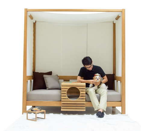 Pet-Friendly Outdoor Furniture - This Piece of Furniture for Pets by DEESAWAT Has a Spot for a Dog
