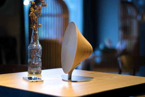 Gramophone-Inspired Speakers - These Wood Speakers Were Designed To Look Like a Gramophone