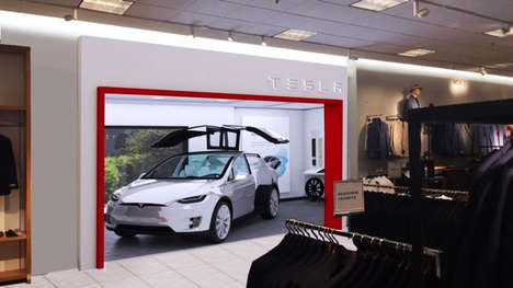 Cross-Platform Car Galleries - Tesla x Nordstrom Brings a New Experience for Both Companies