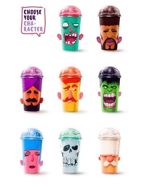 Personified Milkshake Cups