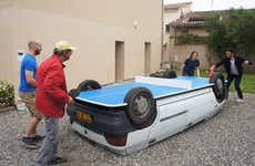 Ping Pong Table Cars - This Car Was Flipped So That Patrons Could Play a Game of Ping Pong