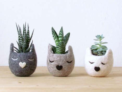 Feline-Inspired Felt Planters