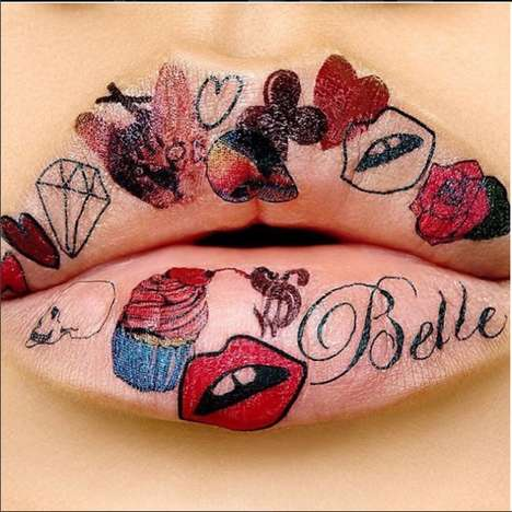 Tattoo Illustration Lip Looks - This Fake Lip Tattoo Look was Created by Violette Serrat for MAC