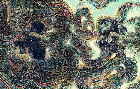 Vibrant Swirling Illustrations