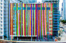 Striped Street Murals - This Striped Art Was Painted onto a Building to Liven Up the Area