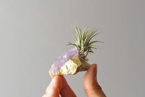 Healing Crystal Planters - Etsy's AirFrend Shop Specializes in Raw Stone Plant Accessories