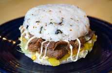 Korean Rice Burgers - Kobob Burger Serves Rice Burgers Filled with Lettuce, Corn and Beef