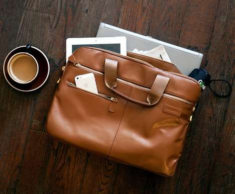 Self-Charging Briefcases - The Luxe Leather Briefcase Offers a Built-In Charger for On-the-Go Reboot