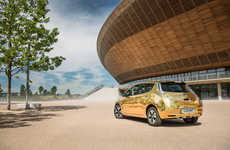 Gilded Electric Cars - Nissan is Gifting Gold Leaf EVs to Olympic Gold Medalists