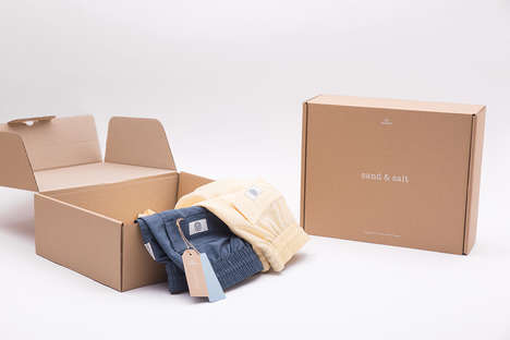 Minimalist Swimwear Packaging - The Packaging for Sand & Salt Swim Trunks is Made to Be Recycled