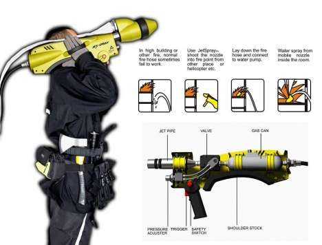 Bazooka Firehoses - Nozzle Doesn't Reach? Shoot It With The Jet Spray Firefighter Gun