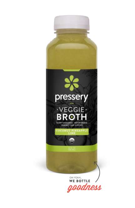 Bottled Vegetable Broths - Pressery Packages Its 'Veggie Broth' as a Ready-to-Drink Product