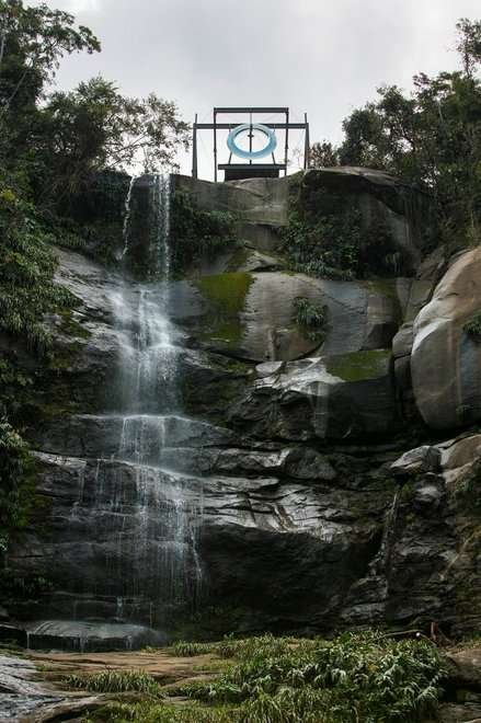 Mariko Mori Placed a Large Ring Above a Waterfall to Signify Unity