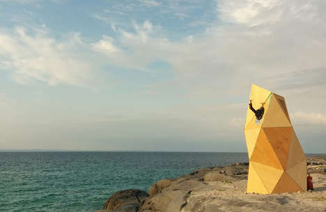 Abstract Beach Saunas - This Futuristic Wooden Sauna Gives Patrons Views of the Ocean