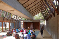 Recycled Volcanic Stone Buildings - The 'Buddhist Learning Center' is Built from Reused Materials