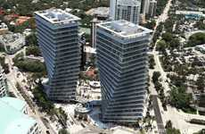 Twisting Twin Towers - The Coconut Grove Project Consists Of Two Twisting Glass Towers