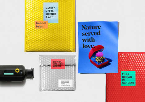 Textured Supplement Branding - Biocol's Natural Medicines Have a Unique Graphic Brand Identity