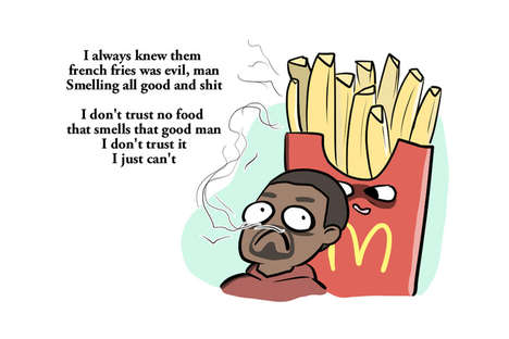 These Drawings Highlight Kanye West's Poem About McDonald's Food