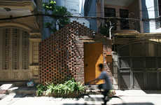 Perforated Brick Pavilions - The Nghia-Architect Urban Abode Uses a Rock Facade to Create Privacy