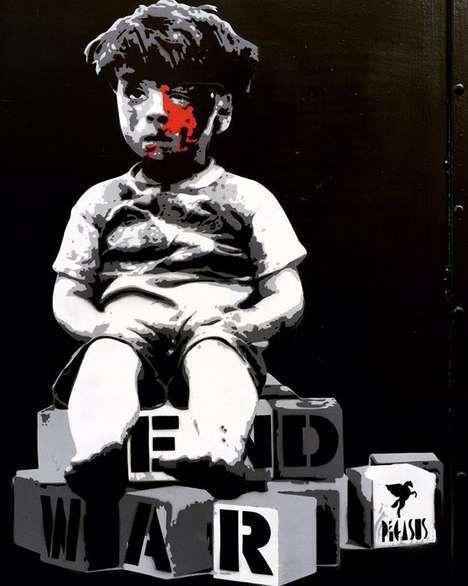 Anti-War Street Art - An Artist Painted a Haunting Image of an Injured Syrian Boy