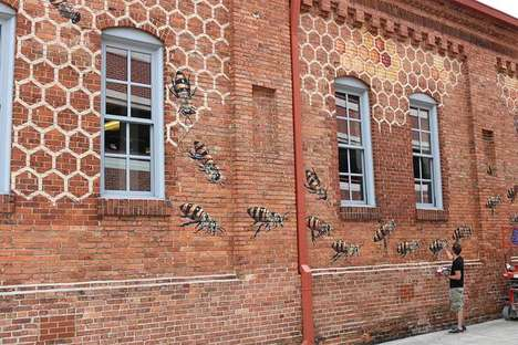 Bee Awareness Murals - The Burt's Bees Global Headquarters Features Dynamic Bee Art by Matt Wiley