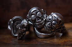 Diamond-Accented Skull Rings - This Gothic Jewelry from Peanuts & Co. Has Secret Compartments Inside