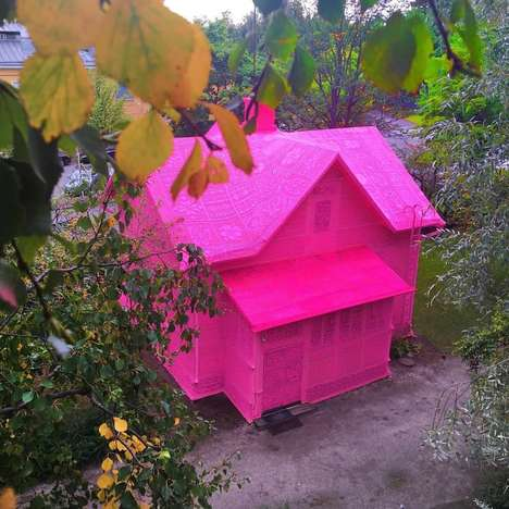 Crochet Fiber Homes - This House Located in Finland Has an Exterior Lining Made of Pink Knitting