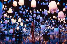 Resonating Light Installations - 'Forest of Resonating Lamps' Responds to People Moving Through It