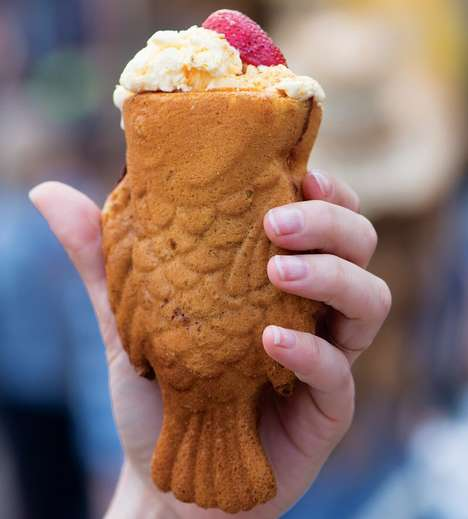 Savory Fish-Shaped Desserts - This Unique State Fair Food is Served in an Edible Fish-Shaped Cone