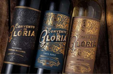 Gold-Embossed Wine Branding - M&A Creative Agency Created a Luxuriously Styled Bottle for This Brand