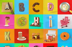 Realistic 3D Food Letters