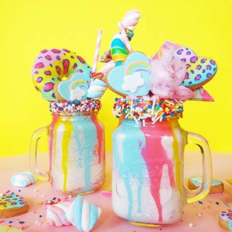Whimsical Rainbow Milkshakes - This Frothy Drink Recreates Mythical Unicorns in Edible Form